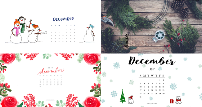 december 2017 calendar wallpapers