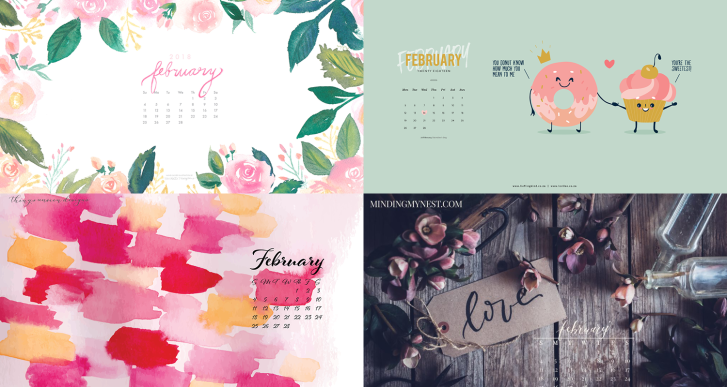 february 2018 calendar background