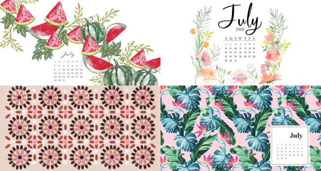 July 2018 Calendar Backgrounds